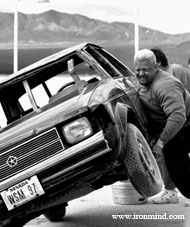 Nice Viking fun: rolling a car in the desert. World's Strongest Man winner Svend Karlsen is relocating to Las Vegas in November, so if you need him for seminars, appearances, TV commercials, etc., now is the time to book him. IronMind® | Randall J. Strossen, Ph.D. photo (Primm, Nevada).
