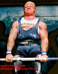 Svend Karlsen reps out on the Apollon Axle™ deadlift at the 2003 Super Series (Honolulu, Hawaii). IronMind® | Randall J. Strossen, Ph.D. photo.