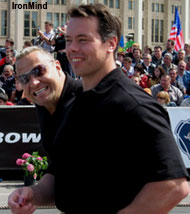 Two World's Strongest Man winners are better than one: Svend Karlsen backed up Jouko Ahola as a referee at the WSMSS Moscow Grand Prix last weekend. IronMind® | Colin Bryce photo.