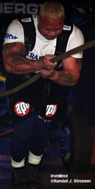 Working like a human winch, Svend Karlsen hits the truck pull at the 2003 Vantaa (Finland) Grand Prix. IronMind® | Randall J. Strossen, Ph.D. photo.