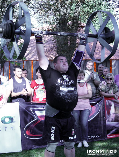 zabo Zolt was the big winner at the 2011 Hungarian Strongest Man contest, where he won most of the events—including the Apollon's Wheels.  IronMind® | Courtesy of Adam Daruzs.