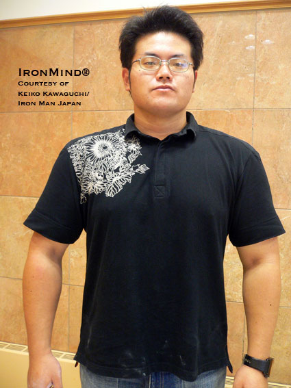 Taichi Morodomi - the latest man to officially certify on the No. 3 Captains of Crush® Gripper, the universal benchmark of world-class grip strength.  IronMind® | Photo courtesy of Keiko Kawaguchi/Iron Man Japan.