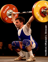 Arsen Tamrazyan (Armenia) snatched this 110 kg in the men's 56-kg class last night at the European Weightlifting Championships, but the only problem was that he had already taken three attempts. IronMind® | Randall J. Strossen, Ph.D. photo.