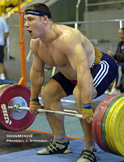 Hard at it in the training hall at the 2007 World Weightlifting Championships, Russia's Evgeni Tchigishev is a favorite for a medal in weightlifting's super heavyweight class at the Beijing Olympics - you can bet that he's had plenty of memorable Saturday workouts in his career. IronMind® | Randall J. Strossen photo.
