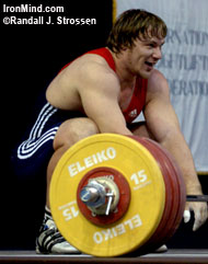 He's all smiles now, but this gold medal 211-kg snatch made by Evgeni Tchigishev (Russia) at the 2005 World Weightlifting Championships (Doha, Qatar) was described by Jim Schmitz as being one of the hardest snatches he's ever seen. That's only part of the pain associated with a lift like this, and pain - different kinds of pain - is what Jim Schmitz's latest column is about. IronMind® | Randall J. Strossen, Ph.D. photo.