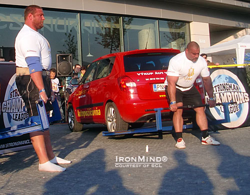 Head-to-head competition featuring top strongman competitors is something you can expect to see Strongman Champions League deliver.  Here, Terry Hollands (left) and Ervin Katona (right) match up in the car deadlift.  IronMind® | Courtesy of SCL.