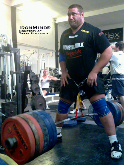 Despite tearing a biceps earlier this year, Terry Hollands will be competing at WSM 2010.  Here, Terry is shown down a 405-kg hip belt squat/hip lift.  IronMind® | Photo courtesy of Terry Hollands.