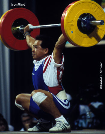 Thanh Nguyen skated into the Sports Palace one day, started lifting, and he went on to become a member of the 1996 US Olympic Weightlifting Team: Lifting in 64-kg category,Thanh made this 112.5-kg snatch and he cleaned and jerked 145 kg in Atlanta. IronMind® | Randall J. Strossen, Ph.D. photo.