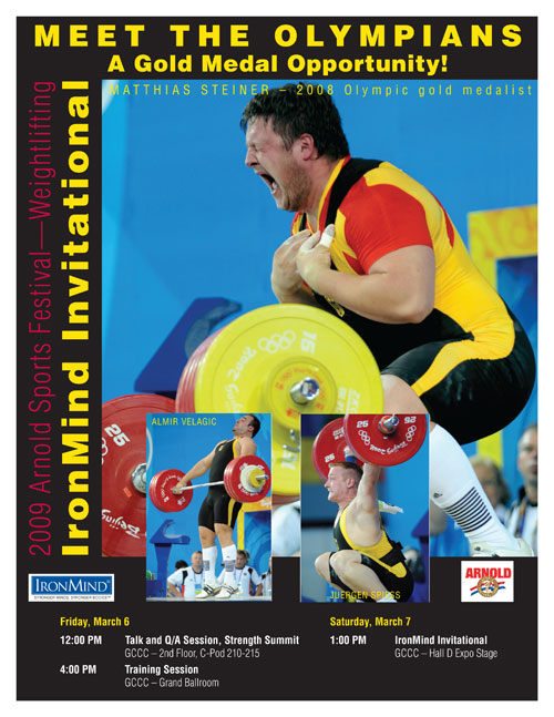 Matthias Steiner and his teammates from the 2008 German men's Olympic weightlifting team will be a big part of the Arnold Sports Festival. Artwork courtesy of IronMind® Enterprises, Inc.