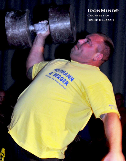 Tobias Ide (2008 Germany's Strongest Man) on the dumbbell press, which was part of the medley.  Ide's Team Mecklenburg came in 4th place.  IronMind® | Photo courtesy of Heinz Ollesch.