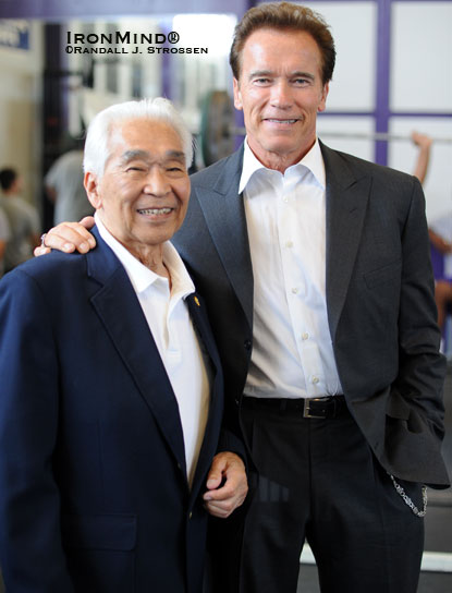 California Governor Arnold Schwarzenegger said that as a young man he watched Tommy Kono compete in the World Weightlifting Championships and was so inspired by Kono's strength and  physique that he redoubled his own training efforts.  The result of this, the governor said, was that he won the Mr. Universe contest, which in turn led to his getting an invitation to come to the United States.  The rest, as they say, is history.  IronMind® | Randall J. Strossen photo.