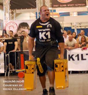 This past weekend Travis Ortmayer added the FIBO strongman contest to his list of 2009 wins. IronMind® | Photo courtesy of Heinz Ollesch.