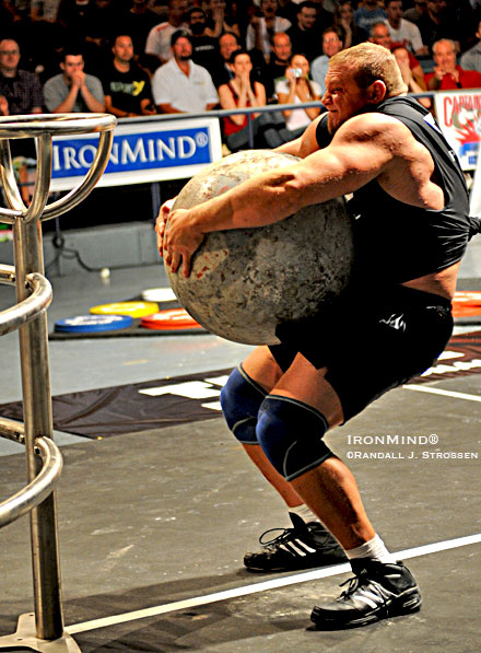 "He called it bittersweet, saying, ""This was the first time I failed to load a stone,"" but a lot of people would be happy to trade places with Travis Ortmayer, as he won the Super Series Madison Square Garden Grand Prix tonight, for top bragging rights and a guaranteed invitation to the 2008 World's Strongest Man contest. Randall J. Strossen photo."