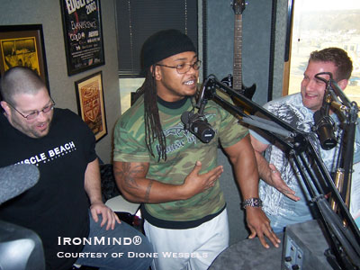 Mike Johnston ASC VP), Matt Wanat, ASC Pro, and Brad Johnson (105k ASC Pro) in the studio, promoting ASC live in Tulsa this weekend. IronMind® | Photo courtesy of Dione Wessels.