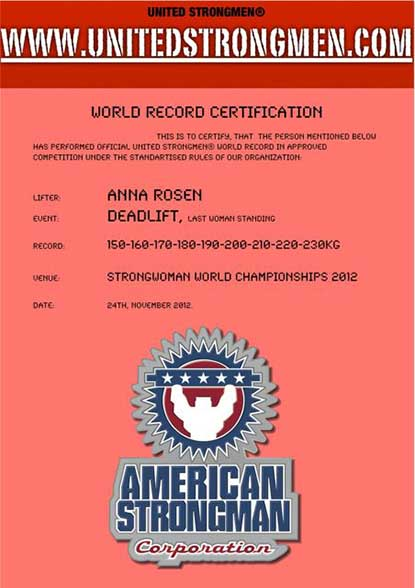 US is retroactively recognizing world records from its 2012 Women's World Championships, with Anna Rosen being the first recipient.  IronMind® | Image courtesy of US.