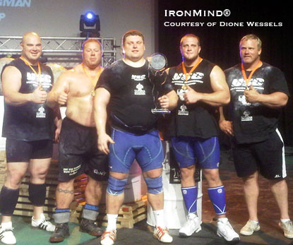 Here are the top five from the Ultimate Strongman Championships.  IronMind® | Photo courtesy of Dione Wessels.