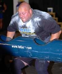 Van Hatfield blasts away on the 340-pound log. IronMind® | Randall J. Strossen, Ph.D. photo