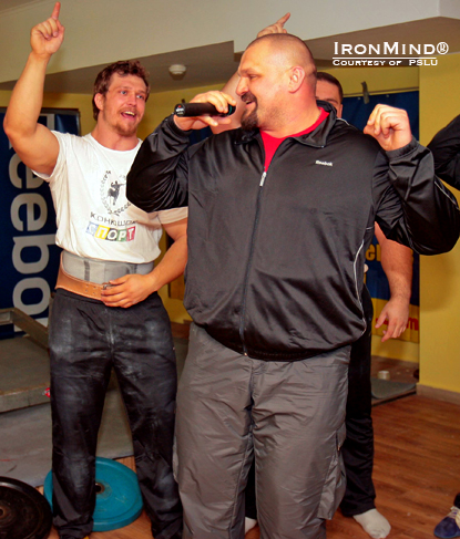 World's Strongest Man winner and president of the Professional Strongman League of Ukraine Vasyl Virastyuk leads everyone in a song.  That's Sergiy Konyushok to the left of Virastyuk.  Photo courtesy of PSLU.
