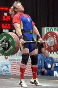 Victoria Shaymardanova (Ukraine) cranks on 145 kg on her way to winning the women's +75 kg category at the European Weightlifting Championships today. IronMind® | Randall J. Strossen, Ph.D. photo.