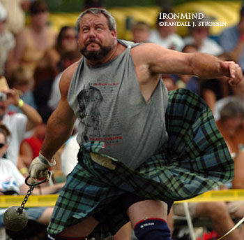 Don't plan on Ryan Vierra rolling over and playing dead this weekend, when he defends his Highland Games World Champion title in Inverness, Scotland. In addition to his unblinking focus and never-say-die competitiveness, rumor has it that Ryan will have his favorite distance marker/target on the field . . . which could help boost his throws. IronMind® | Randall J. Strossen, Ph.D. photo.