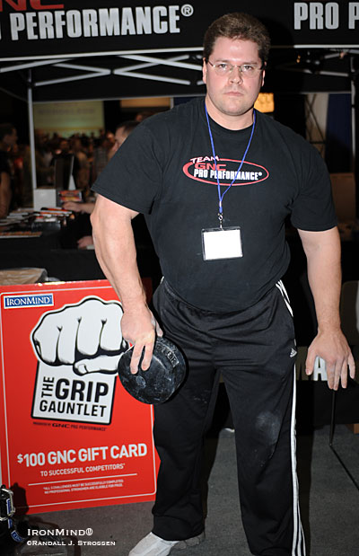 "Wade Gillingham - in another dazzling display of Blob mastery - lofts an ""unliftable"" Blob using only two fingers plus his thumb at last weekend's FitExpo. IronMind® 
