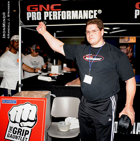 Wade Gillingham - master of the GNC Grip Gauntlet - will be giving you a chance to join the ranks of the grip world elite at the Arnold Sports Festival. IronMind® | Randall J. Strossen photo.