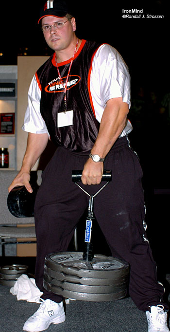Wade Gillingham - Grand Master of the GNC Grip Gauntlet - will be hosting this fun, challenging event again this year at the FitExpo and at the Arnold. IronMind® | Randall J. Strossen, Ph.D. photo.