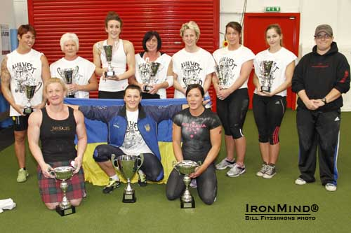 Ten women, representing nine countries and weighing as little as 63 kg, competed in the World's Most Powerful Woman Under 75 kg strongwoman contest.  IronMind® | Photo courtesy of Bill Fitzsimons.