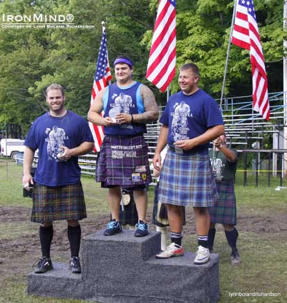 Matt Vincent (center) won the 2012 World Heavy Events Championships in Fergus, Ontario.  Mike Pockoski (right) was second and Dan McKim (left) was third.  IronMind® | Photo courtesy of Lynn Boland Richardson.