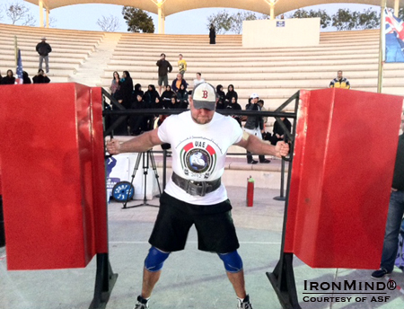 Josh Thigpen (USA) edged out Stefan Solvi Petursson (Iceland) by one point for top honors today at WSF World Strongmen Championships in Abu Dhabi.  IronMind® | Courtesy of ASF.