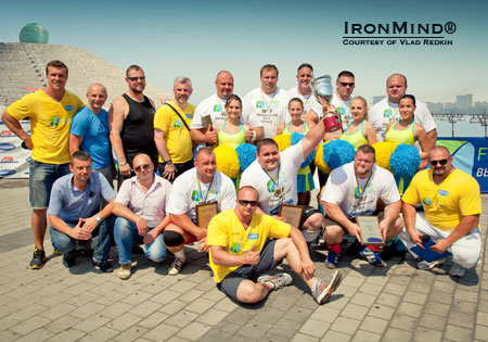 Group shot from the the FOREX TREND WSF—Ukraine strongman competition.  IronMind® | Photo courtesy of Vlad Redkin.