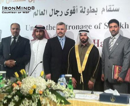Vlad Redkin (third from left) with Sheikh Hamdan bin Mohammed bin Hamdan Al Nahyan (fourth from left), sponsor of the 2012 WSF Strongman Championships, February 11–13 in Abu Dhabi.  IronMind® | Courtesy of WSF.
