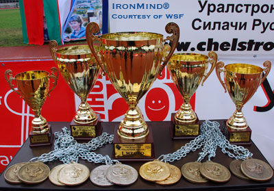 The awards at this contest included the massive medals made especially for this competition. IronMind® | Photo courtesy of WSF.