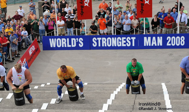 It was the first event in the finals of the 2008 MET-Rx World's Strongest Man contest and Mariusz Pudzianowski was about to put the pedal to the metal. IronMind® | Randall J. Strossen photo.
