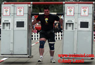 Dominic Filiou had top-three performances in both of today's events at the 2005 MET-Rx World's Strongest Man contest and has moved into third place overall. IronMind® | Photo courtesy of Andy Lazell.