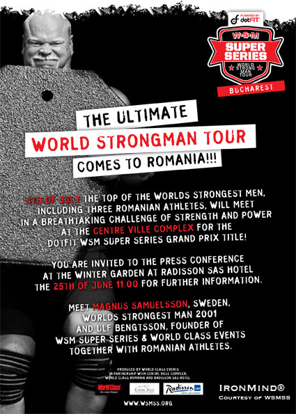 dotFit and Super Series are bringing big-time strongman to Bucharest, Romania.  IronMind® | Artwork courtesy of WSMSS.