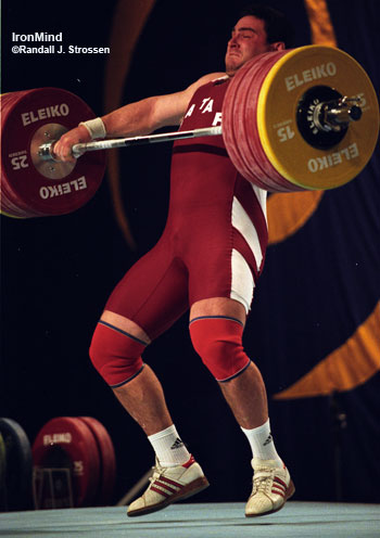 Salem Jaber ripping a 210-kg snatch, good for the gold medal at the 2003 World Weightlifting Championships. IronMind® | Randall J. Strossen, Ph.D. photo.