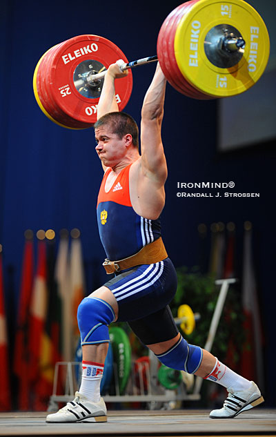 Aleksey Yufkin (Russia) stuck this 205-kg jerk, good for the gold medal in the clean and jerk as well as the total in the 85-kg category at the European Weightlifting Championships. IronMind® | Randall J. Strossen photo.
