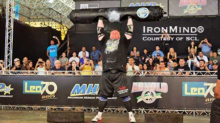 Zydrunas Savickas continued his domination of the Log Lift with this 223-kg success, for a new world record.  IronMind® | Courtesy of SCL