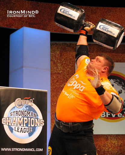 Zydrunas Savickas turned out another powerful performance and won the 2012 SCL strongman competition at the FIBO this weekend.  IronMind® | Photo courtesy of SCL.