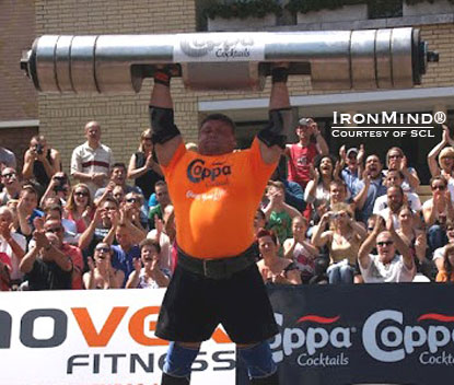 "Zydrunas Savickas boosted the Log Lift world record to 217.5 kg at the SCL–Holland strongman contest this weekend.  This was done on the old IFSA log, ""not some midget log,"" Marcel Mostert would note.  IronMind® 