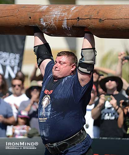 Zydrunas Savickas has dominated the log lift world record, pushing the mark to 220 kg with this success at the 2012 World's Strongest Man contest.  Will he be the the first to break the 500-lb. barrier.  IronMind® | Randall J. Strossen photo.