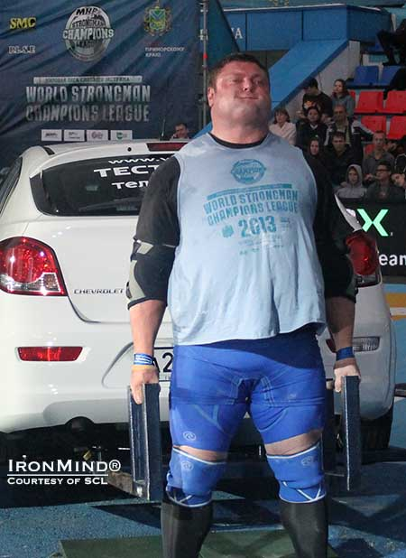 Zydrunas Savickas won the Car Deadlift for Reps, as well as the overall title, at the 2013 SCL–Russia competition held this weekend in Vladivostok.  IronMind® | Courtesy of SCL.