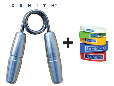 A Zenith Gripper and a set of Expand-Your-Hand Bands are the basic training tools for building strong and healthy hands—they'll make your hands perform and feel better . . .  coming and going.  Image ©IronMind Enterprises, Inc.