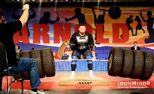 Zydrunas Savickas broke the world record on the Hummer Deadlift with a huge pull of 1117 lb.  IronMind® | Courtesy of United Strongmen™.