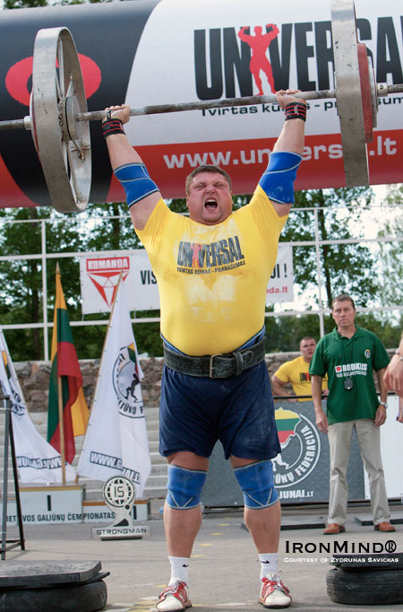 Among his standout performances, Zydrunas Savickas set the IFSA Axle world record with this lift of 202.5 kg.  IronMind® | Photo courtesy of Zydrunas Savickas.