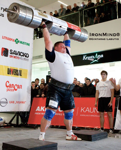 Zydrunas Savickas and his latest world record in the log lift: 212.5 kg.  IronMind® | Gintaras Labutis photo.