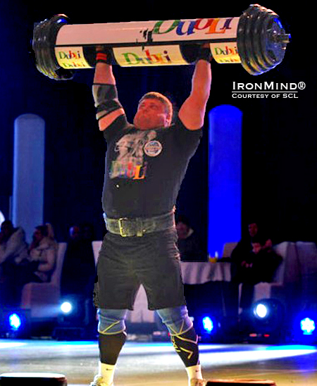 Zydrunas Savickas's world record 215-kg (small) log lift.  IronMind® | Courtesy of SCL.