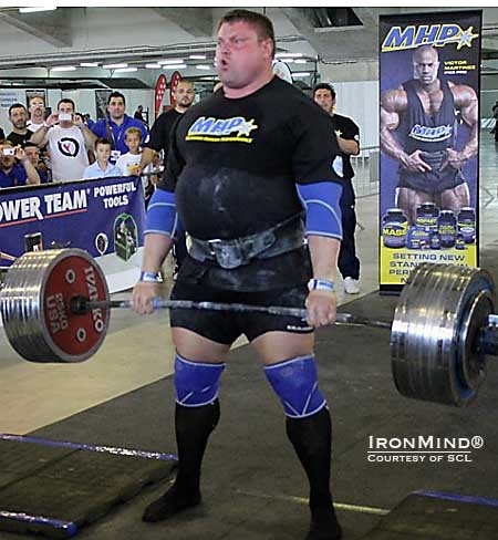 In a field of supercharged deadlifting, Zydrunas Savickas won the event with a 425-kg pull.  IronMind® | Courtesy of SCL.