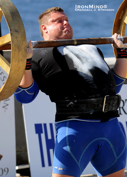 Lithuanian strongman Zydrunas Savickas, the 2009 World's Strongest Man winner, is expected to be the man to beat again in the 2010 edition of World's Strongest Man contest.  IronMind® | ©Randall J. Strossen.